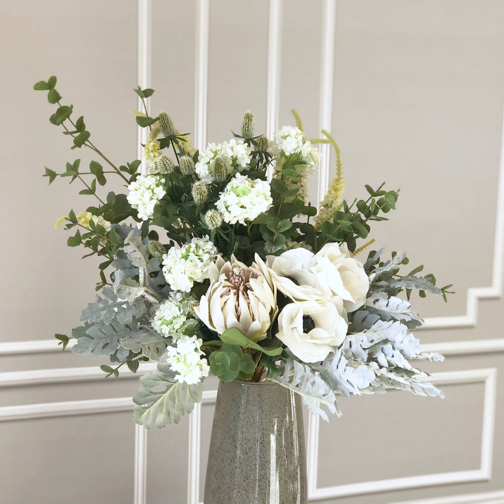 Green And White And Silver Luxury Artificial Flower Bouquet