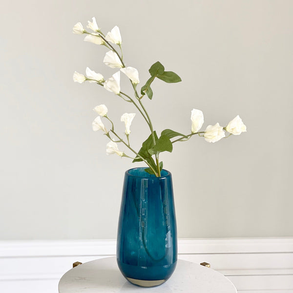 Artificial flowers luxury faux silk blue medium elegant vase and white tall sweet pea lifelike realistic faux flowers buy online from Amaranthine Blooms UK