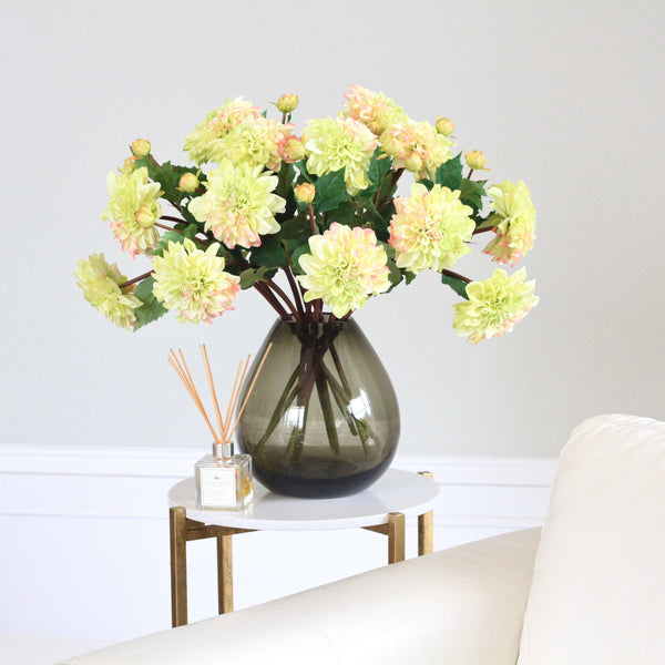 Artificial flowers luxury faux silk green dahlia lifelike realistic faux flowers buy online from Amaranthine Blooms UK