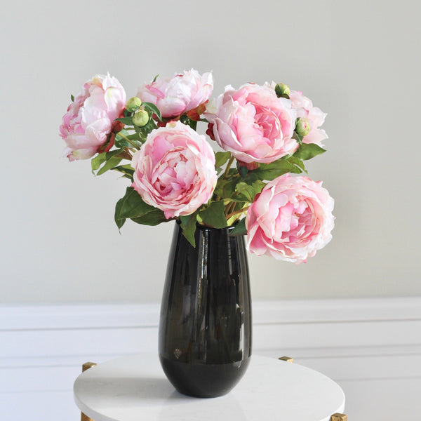 Artificial flowers luxury faux silk pink classic peony smoky grey elegant vase medium lifelike realistic faux flowers buy online from Amaranthine Blooms UK