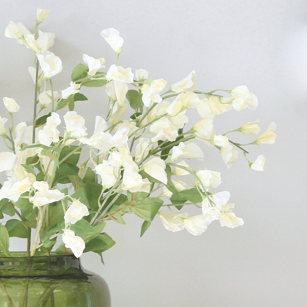 Artificial flowers luxury faux silk tall white sweet pea lifelike realistic faux flowers buy online from Amaranthine Blooms UK