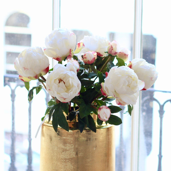 luxury artificial fake silk flowers white large peony lifelike realistic faux flowers buy online from Amaranthine Blooms Hong Kong UK