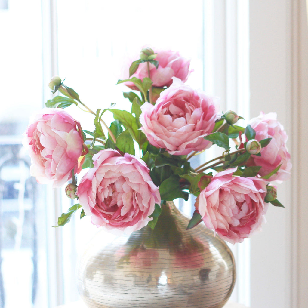 luxury artificial fake silk flowers pink classic peony lifelike realistic faux flowers buy online from Amaranthine Blooms Hong Kong UK