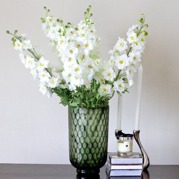 Artificial flowers luxury faux silk white delphinium lifelike realistic faux flowers buy online from Amaranthine Blooms UK