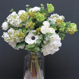 artificial flowers luxury faux silk white hydrangea paniculata and green eucalyptus bouquet lifelike realistic faux flowers buy online from Amaranthine Blooms Hong Kong UK