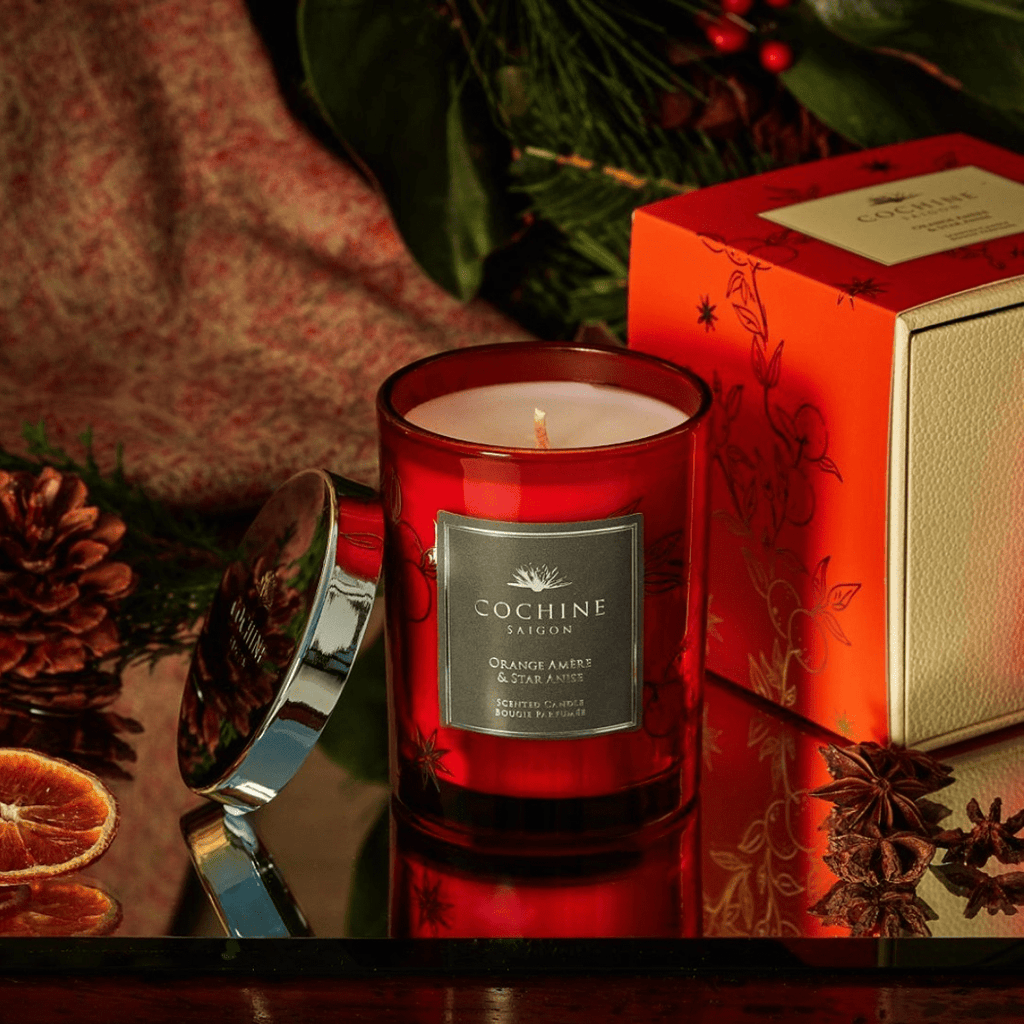 orange amere & star anise scented candle