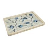 Stylish blue and ivory floral tray home decor and accessories for your coffee table and dining room blue and ivory wood bone