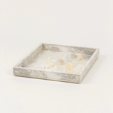 Stylish white marbled stone tray, home decor and accessories for your coffee table and dining room white marbled stone