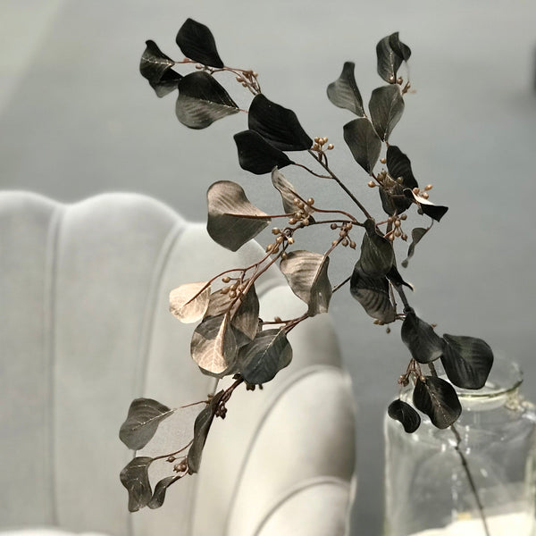 artificial flowers luxury faux silk black eucalyptus with berries lifelike realistic faux flowers buy online from Amaranthine Blooms UK