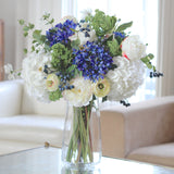 artificial flowers luxury faux silk blue agapanthus white hydrangea bouquet lifelike realistic faux flowers buy online from Amaranthine Blooms Hong Kong UK