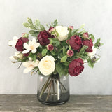 artificial flowers luxury faux silk burgundy peony white rose and magnolia bouquet 1 lifelike realistic faux flowers buy online from Amaranthine Blooms Hong Kong UK