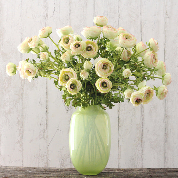 artificial flowers luxury faux silk green Ranunculus lifelike realistic faux flowers buy online from Amaranthine Blooms UK