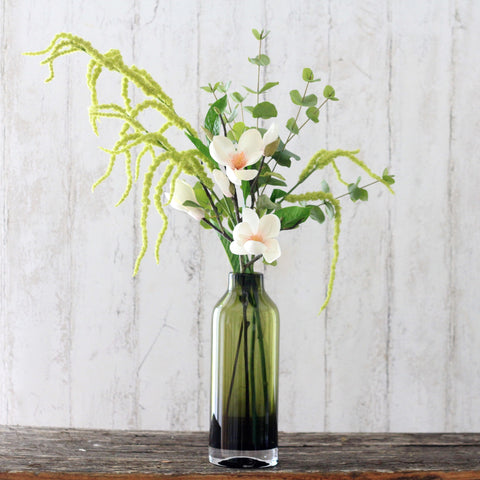 green amaranthus bouquet with vase