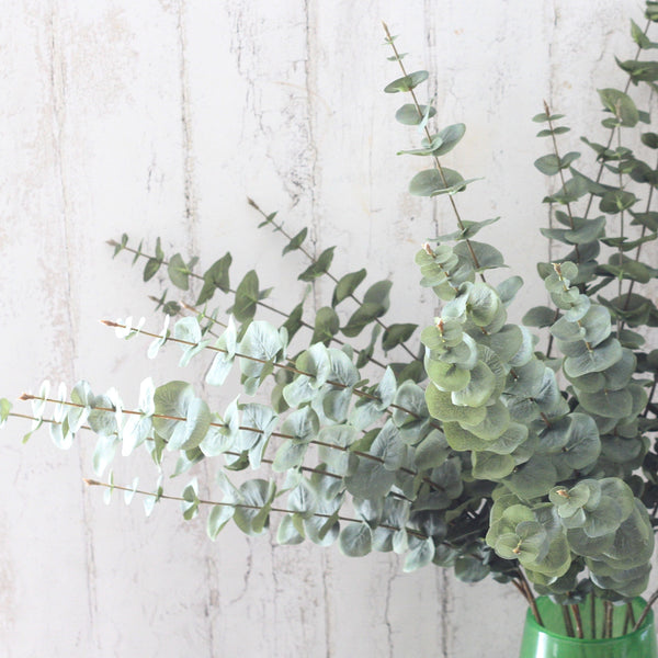 Artificial flowers luxury faux silk green eucalyptus stem lifelike realistic faux flowers buy online from Amaranthine Blooms UK