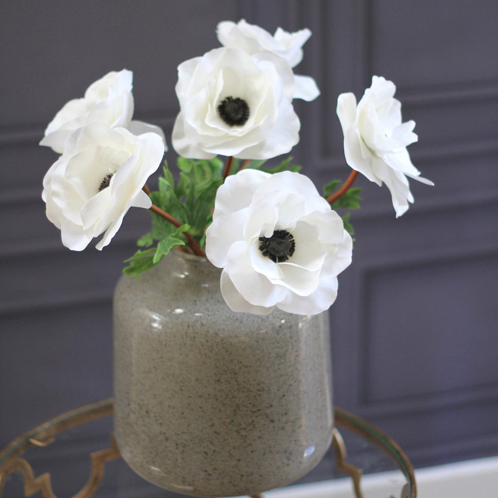artificial flowers luxury faux silk white anemone lifelike realistic faux flowers buy online from Amaranthine Blooms Hong Kong UK