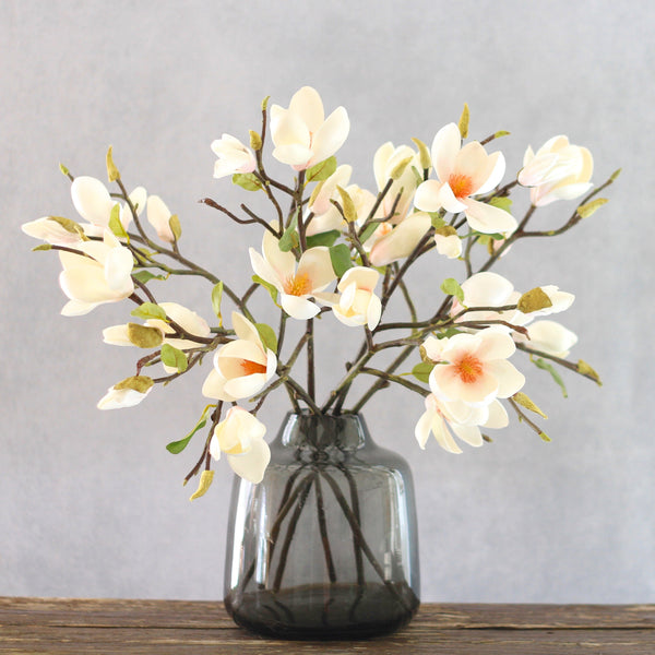 Artificial flowers luxury faux silk white short magnolia branch short lifelike realistic faux flowers buy online from Amaranthine Blooms UK