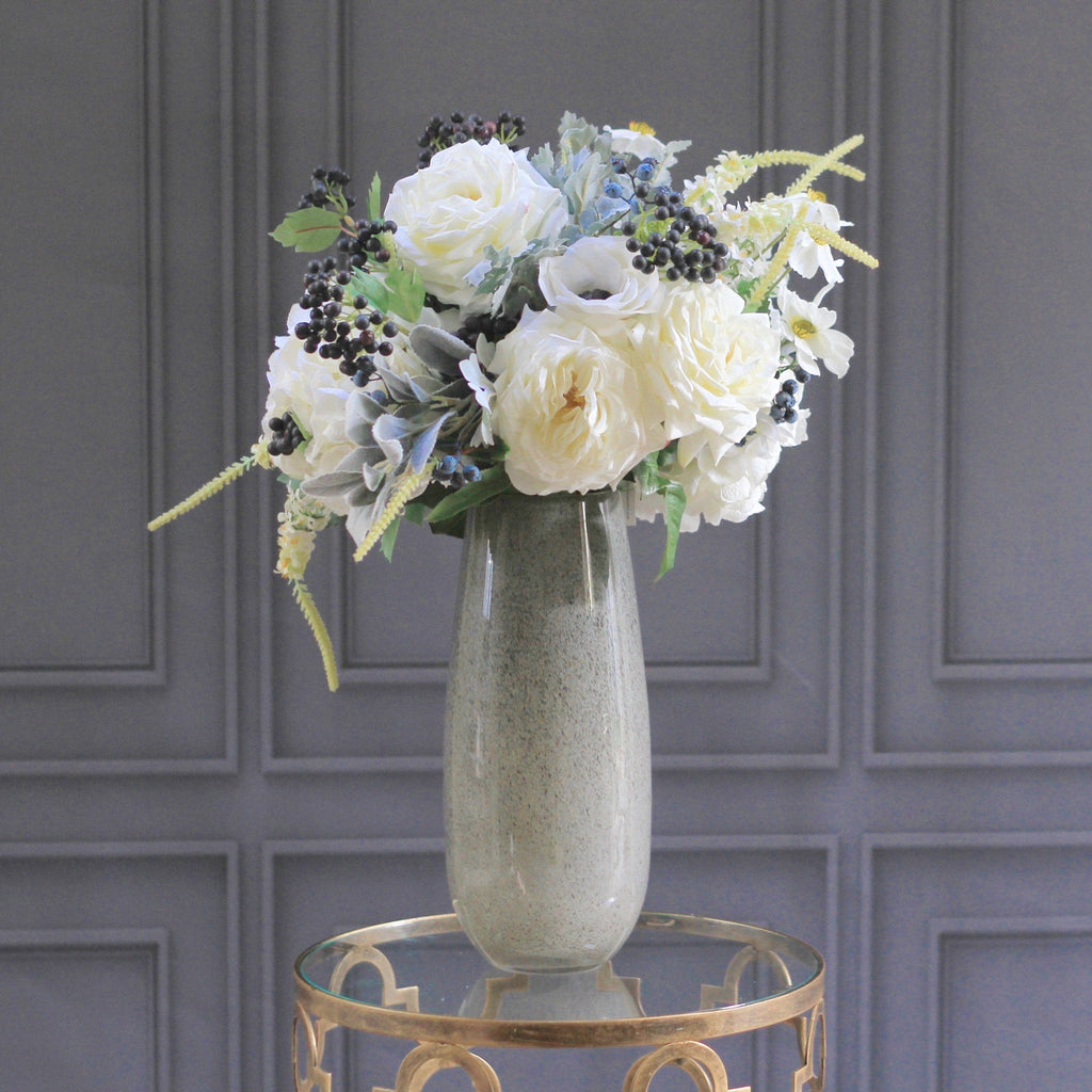 artificial flowers luxury faux silk grey textured tall vase lifelike realistic faux flowers buy online from Amaranthine Blooms Hong Kong UK