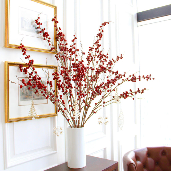 Artificial flowers luxury faux silk red tall berry branch lifelike realistic faux flowers buy online from Amaranthine Blooms UK