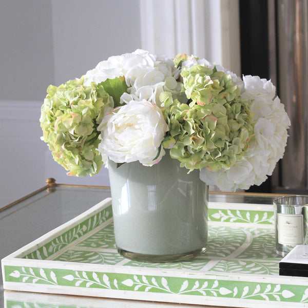 hydrangea and peony display with vase