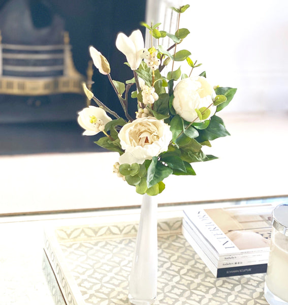 artificial flower peony and vase arrangement luxury realistic and lifelike silk flowers from Amaranthine Blooms in UK