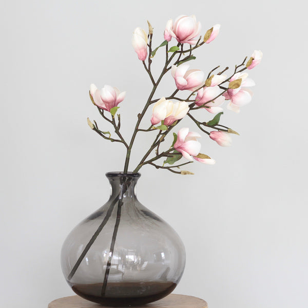 artificial flower bouquet pink magnolia and vase arrangement luxury silk flowers