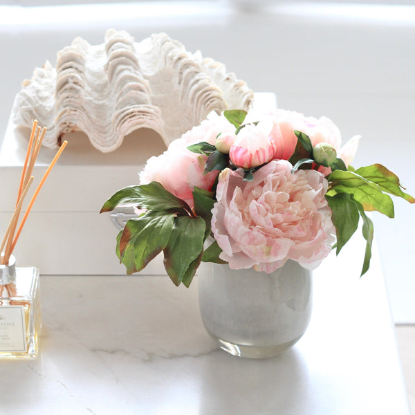 peony and vase arrangement