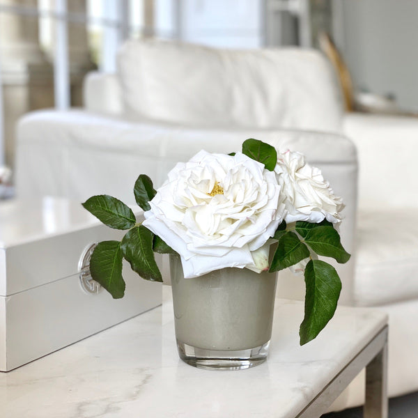 Artificial flowers luxury faux silk white rose side table display lifelike realistic faux flowers buy online from Amaranthine Blooms UK