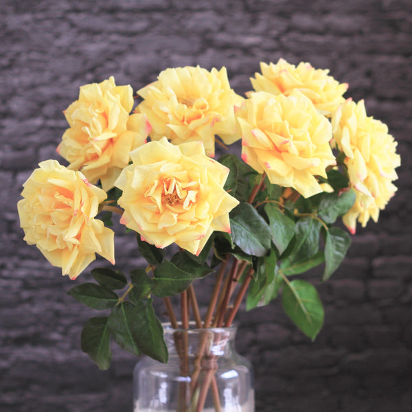artificial flower yellow garden rose luxury silk flowers