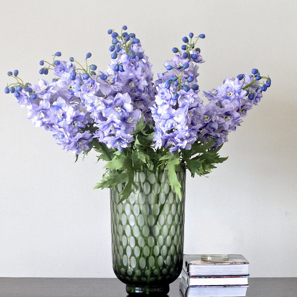 Artificial flowers blue silk delphinium lifelike realistic flower arrangement Amaranthine Blooms UK