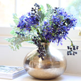 luxury artificial fake silk flowers blue agapanthus blueberry green senecio leaf bouquet lifelike realistic faux flowers buy online from Amaranthine Blooms Hong Kong UK