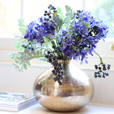 blue agapanthus, blueberry and senecio leaf bouquet