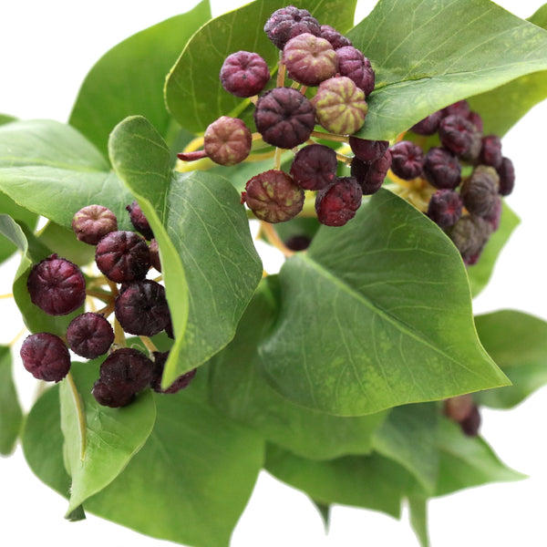 luxury artificial fake silk flowers green ivy leaf greenery foliage with purple berries lifelike realistic faux flowers buy online from Amaranthine Blooms Hong Kong UK