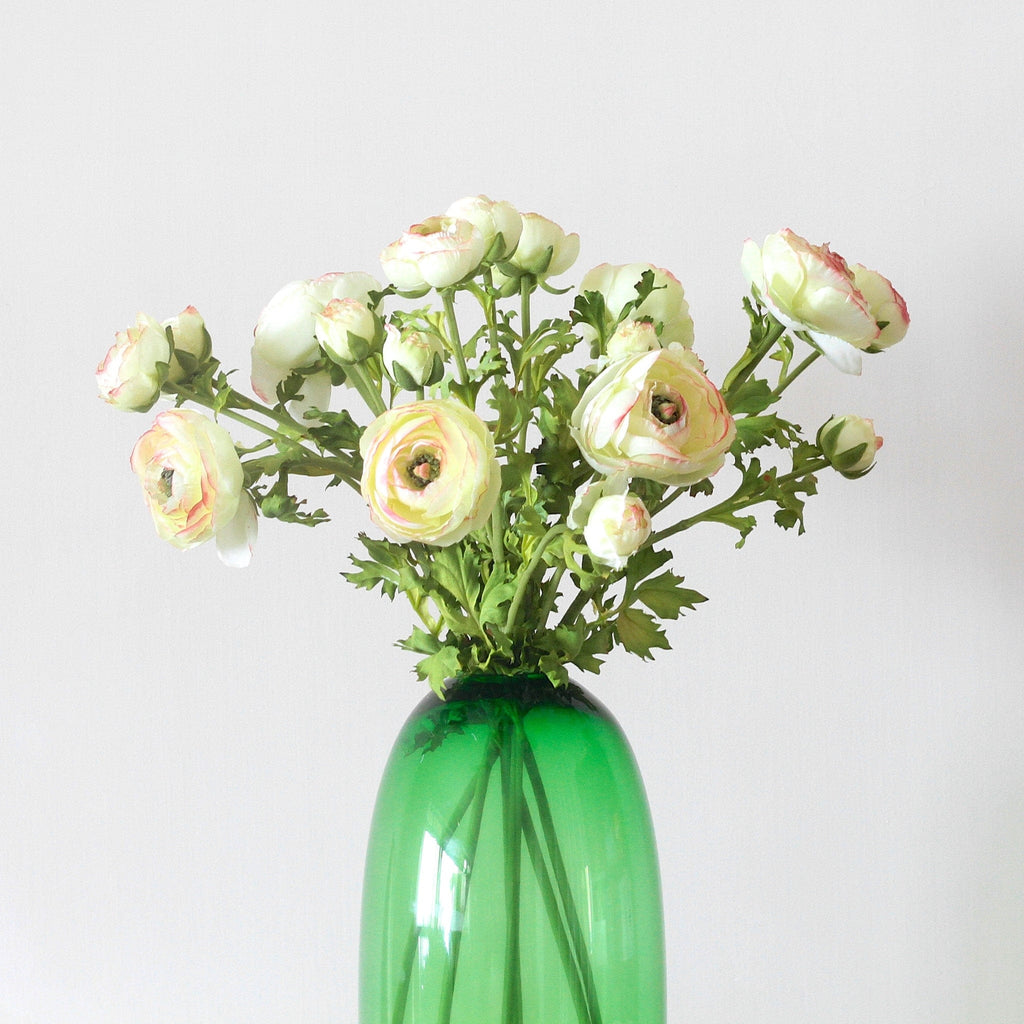 this luxury lifelike and realistic artificial green ranunculus silk flower is available from Amaranthine Blooms in Hong Kong and UK