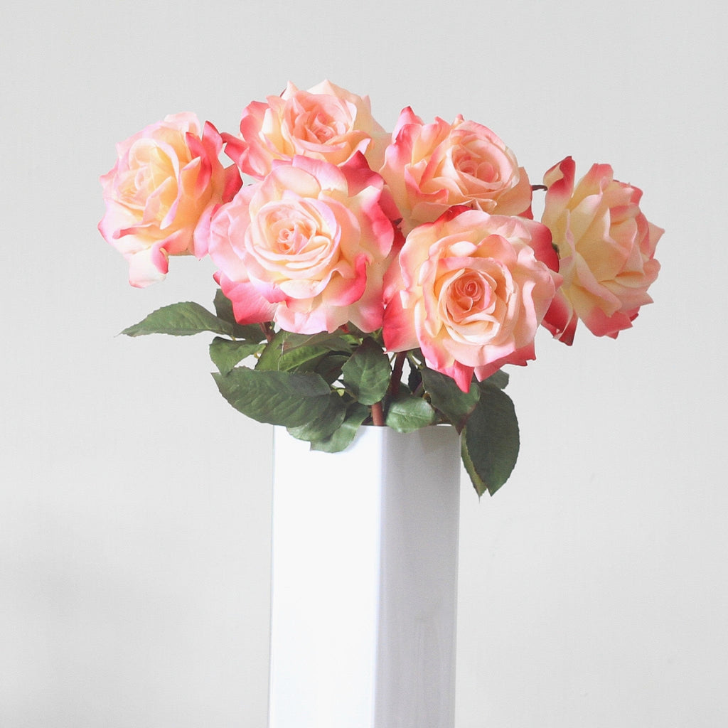 Luxury Artificial Pink Hybrid Tea Rose Bouquet