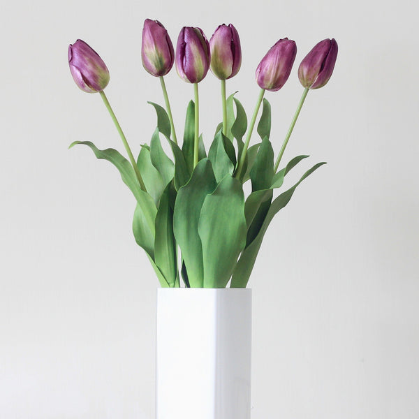 Artificial flowers luxury faux silk purple tulip lifelike realistic faux flowers buy online from Amaranthine Blooms UK