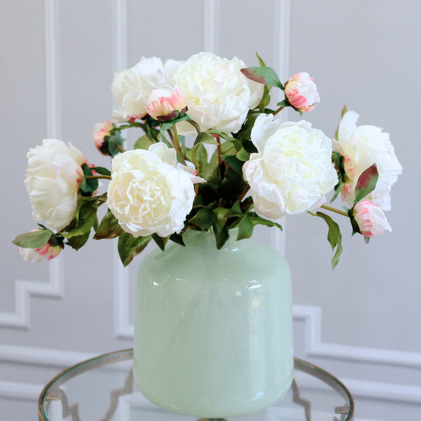 luxury artificial fake silk flowers white open peony bunch lifelike realistic faux flowers buy online from Amaranthine Blooms Hong Kong UK