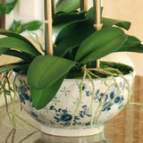 blue white rose print bowl for orchid plant lifelike realistic faux flowers buy online from Amaranthine Blooms Hong Kong UK