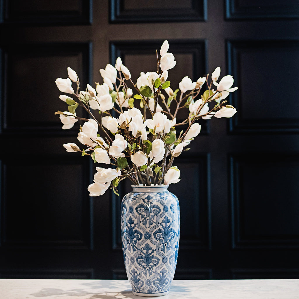 Luxury Artificial White Tall Magnolia Branch Amaranthine Blooms