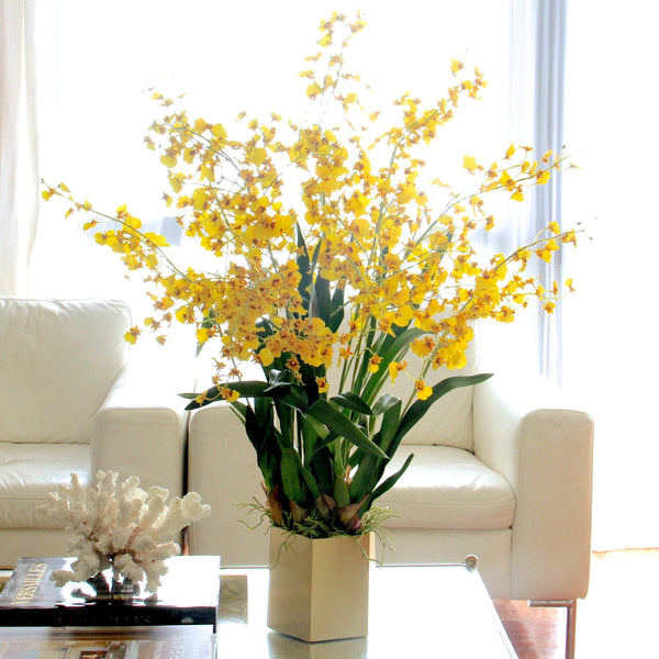 luxury artificial fake silk flowers yellow oncidium stem lifelike realistic faux flowers buy online from Amaranthine Blooms Hong Kong UK
