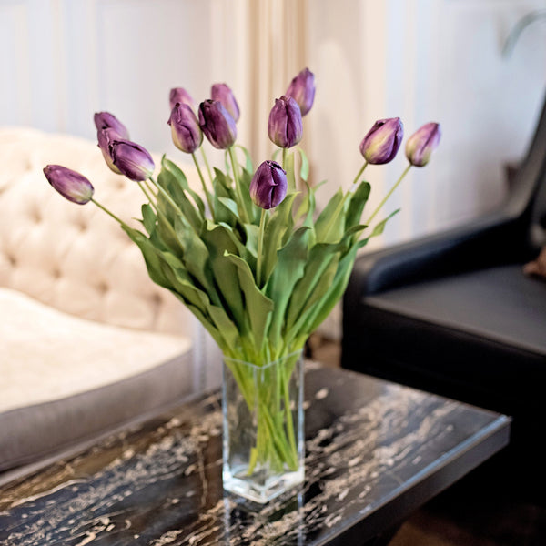 Artificial flowers luxury faux purple tulip lifelike realistic faux flowers buy online from Amaranthine Blooms UK