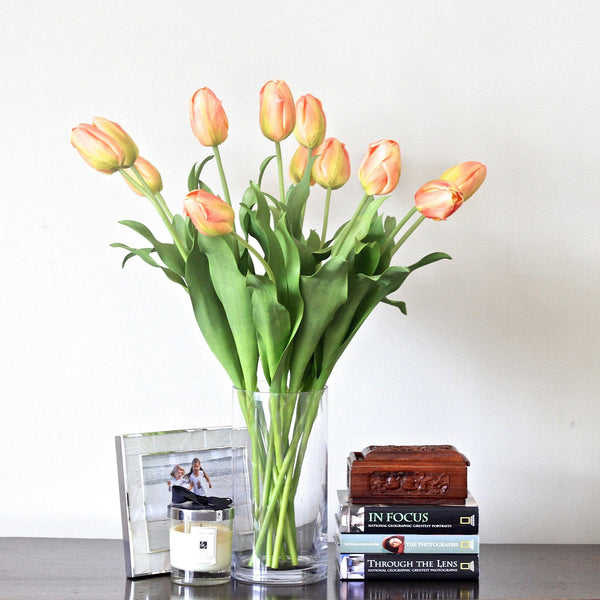 buy this luxury lifelike and realistic artificial orange and white tulip bouquet silk flower is available from Amaranthine Blooms in Hong Kong and UK