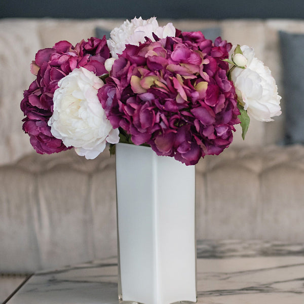 this luxury lifelike and realistic artificial pink fuchsia hydrangea white peony bouquet silk flower is available from Amaranthine Blooms in Hong Kong and UK