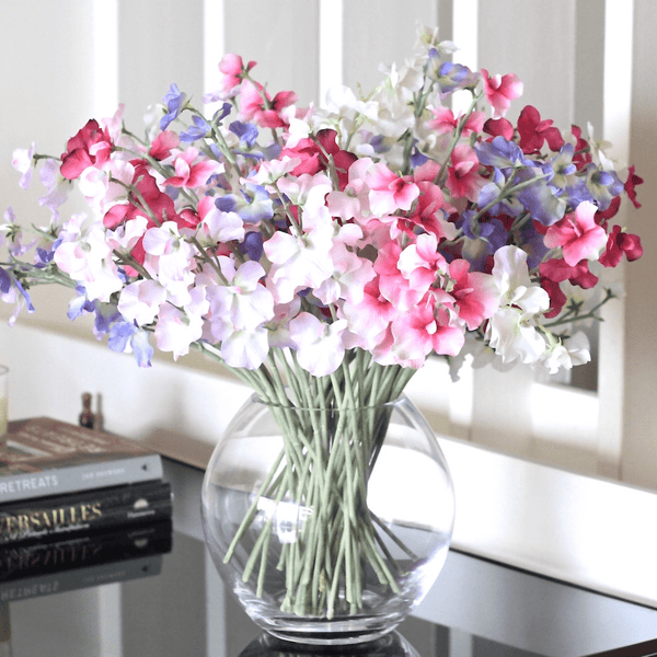 Artificial flowers luxury faux silk mixed sweet peas bouquet lifelike realistic faux flowers buy online from Amaranthine Blooms UK