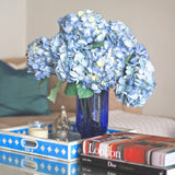 Artificial flowers luxury faux silk blue lacecap hydrangea lifelike realistic faux flowers buy online from Amaranthine Blooms