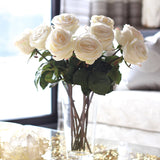 white large rose - bunch of 6 stems