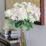 Artificial flowers luxury faux silk pale pink lacecap hydrangea lifelike realistic faux flowers buy online from Amaranthine Blooms UK