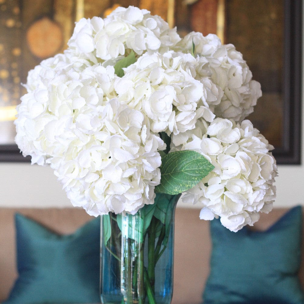 this luxury lifelike and realistic artificial white mophead hydrangea - tall, with leaves silk flower is available from Amaranthine Blooms in Hong Kong and UK