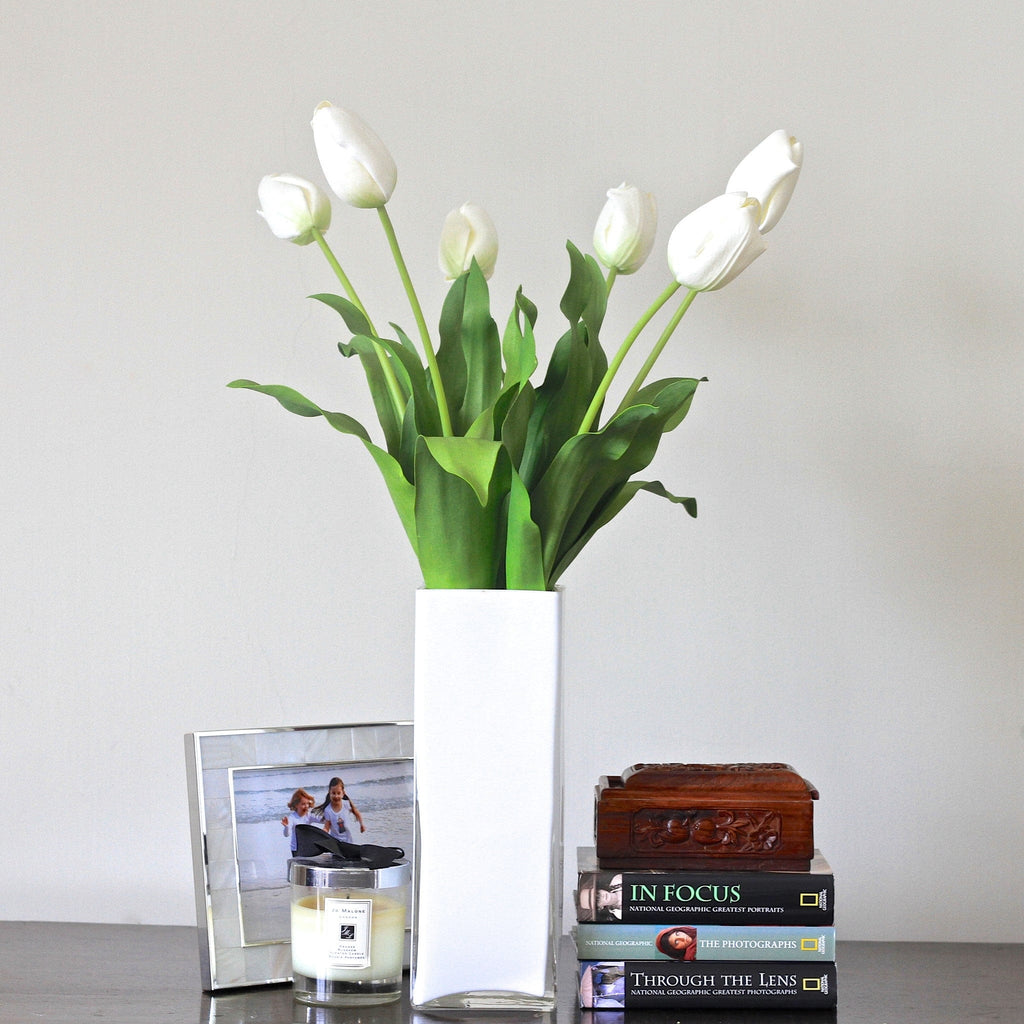 Artificial flowers luxury faux silk white tulip lifelike realistic faux flowers buy online from Amaranthine Blooms UK