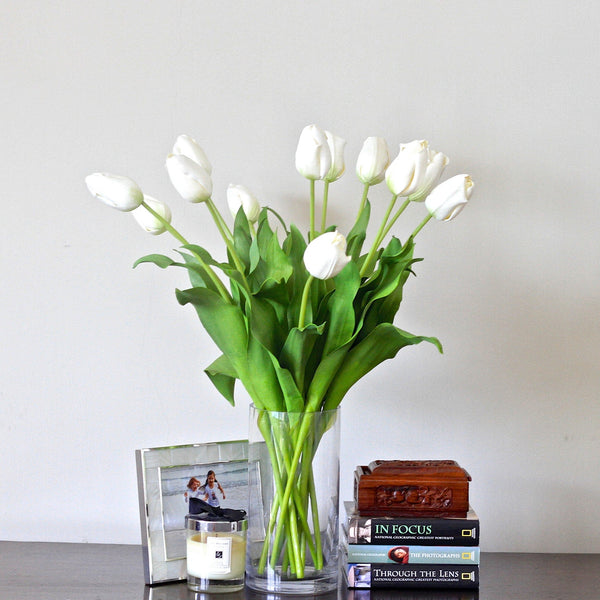 luxury artificial fake silk flowers white tulip lifelike realistic faux flowers buy online from Amaranthine Blooms Hong Kong UK