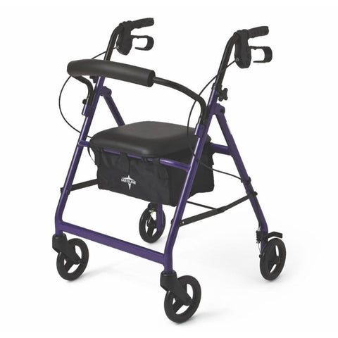 Basic Aluminum Folding Rollator by Medline - Multiple Colors